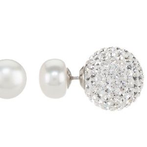 9mm Cultured Pearl & Crystal Double Sided Earrings